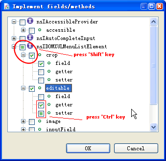 Implements dialog